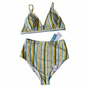 Cupshe Blue and White Striped High Rise Bikini M